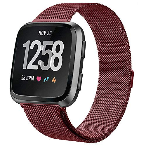 (KIMILAR Metal Bands Compatible with Fitbit Versa/Versa Lite Bands, Women Men Small Large Stainless Steel Replacement Sport Bracelet Strap Wristbands Accessories with Magnet Lock)