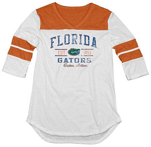 NCAA Florida Gators Women's Tri-Blend 3/4 Sleeve Tee, Orange, (Tri Blend Yoke)