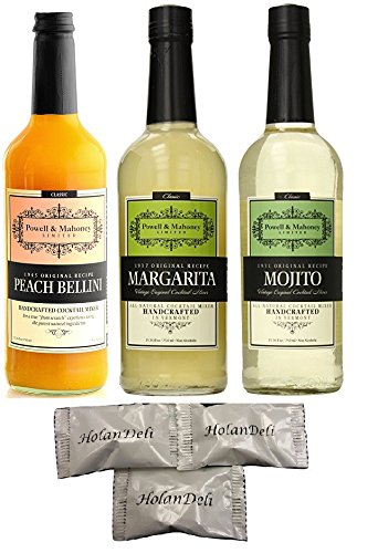 (pack of 3 ) Powell and Mahoney Assorted Original Cocktail Mixer. Margarita, Mojito, Peach Bellini. 750ml.