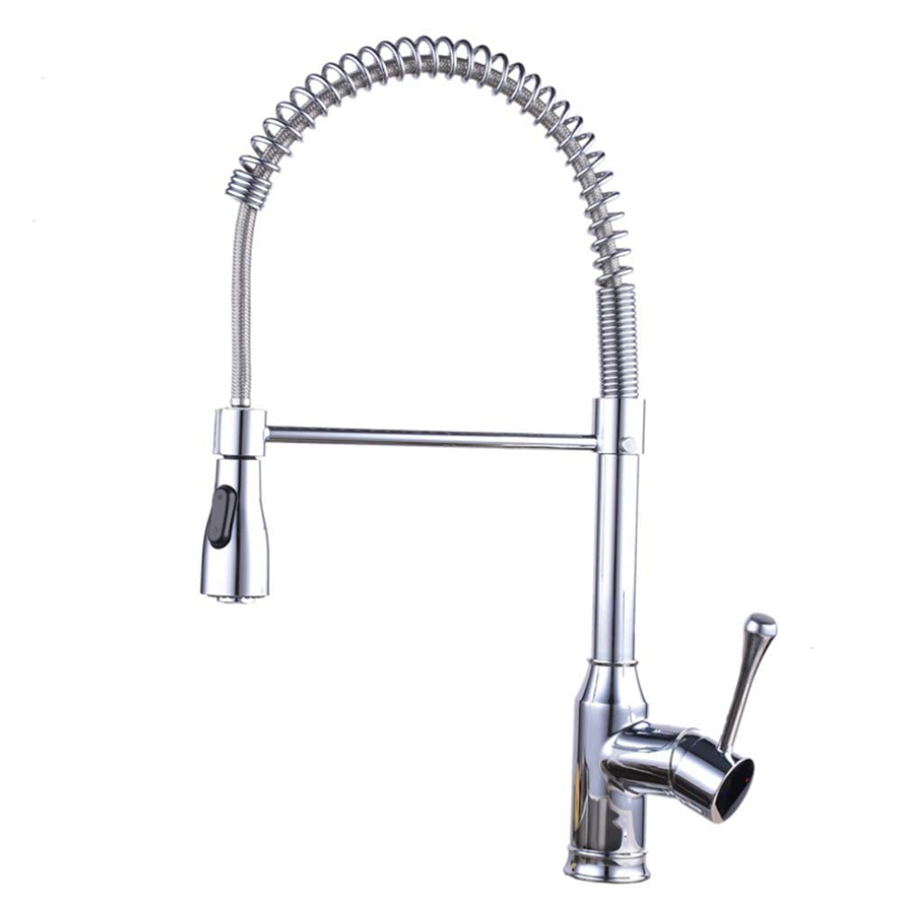 Basin Faucetbathroom Kitchen Faucet Full Copper Spring Pull Flower Sprinkle Kitchen Pot Cold and Hot Water Tank Faucet