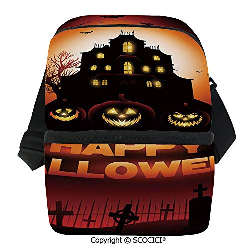 SCOCICI Insulated Lunch Cooler Bag Happy Halloween Haunted House Flying Bats Scary Looking Pumpkins Cemetery Decorative Reusable Lunch for Men Women Heat Insulation,Heat Protection]()