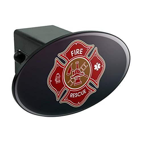 Graphics and More Firefighter Fire Rescue Maltese Cross Oval Tow Hitch Cover Trailer Plug Insert ()