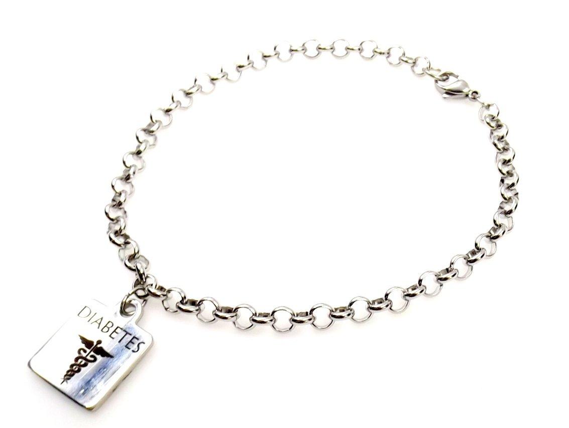 Diabetes Anklet Stainless Steel Medic Alert Ankle Bracelet All Sizes
