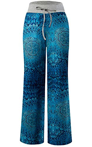 lazzo Pajama Pants Summer Casual Boho Flower Print Drawstring Wide Leg Lounge Trousers S ()