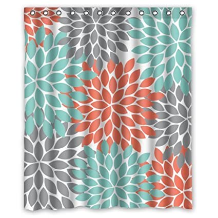 Orange Grey Green Dahlia Pinnata Flower Floral Pattern Custom Shower Curtains Polyester Waterproof 60quot