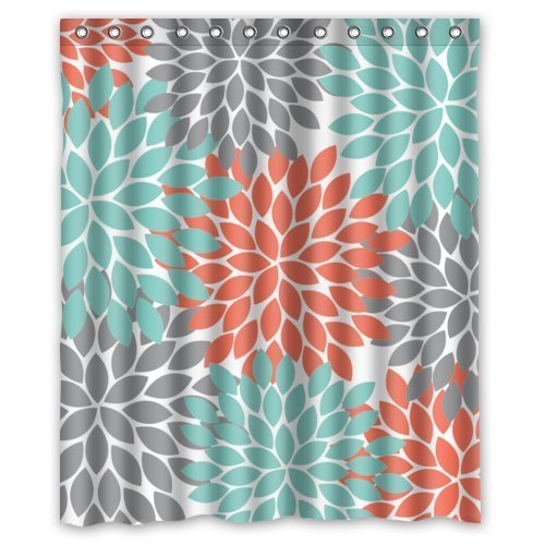 Amazon.com: Orange Grey Green Dahlia Pinnata Flower Floral Pattern ...