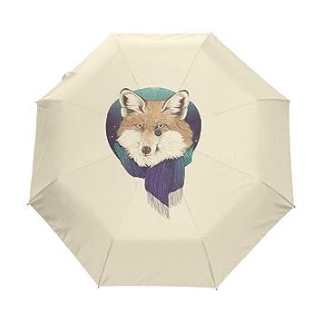 Bennigiry Fox - Paraguas Plegable con 3 Pliegues, Cierre automático, tamaño de Golf Plegable