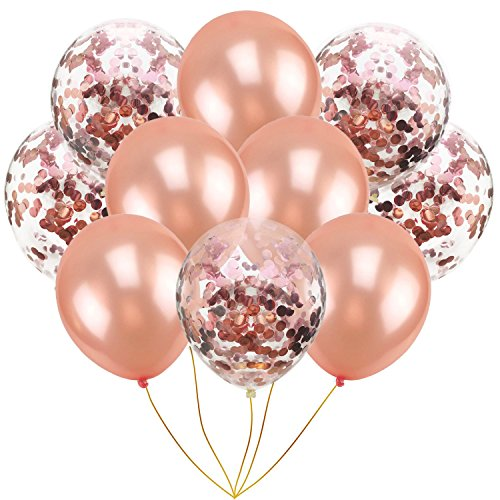 (LOVESHI 10Pcs Mix Rose Gold Confetti Latex Balloons Pink 12 Inches Party Balloons for Shower Bridal Shower Wedding Decorations Rose Gold)