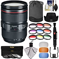Canon EF 24-105mm f/4L IS II USM Zoom Lens with 9 Color & 3 UV/CPL/ND8 Filters + Flash Diffusers + Kit