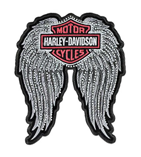 Harley-Davidson Patch, Studded Winged Bar & Shield Emblem, Medium Size EM072063