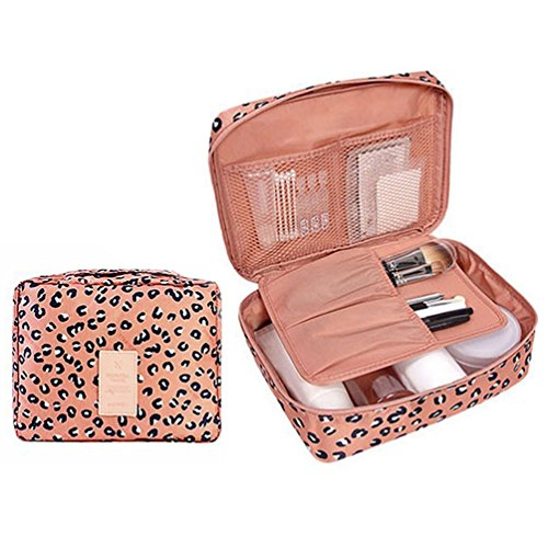 Price comparison product image CalorMixs Travel Cosmetic Bag Printed Multifunction Portable Toiletry Bag Cosmetic Makeup Pouch Case Organizer for Travel (Leopard print)