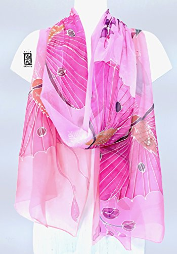 Luna Moth Shawl Wrap in Pink, Hand Painted Silk Scarf, by Silk Scarves Takuyo
