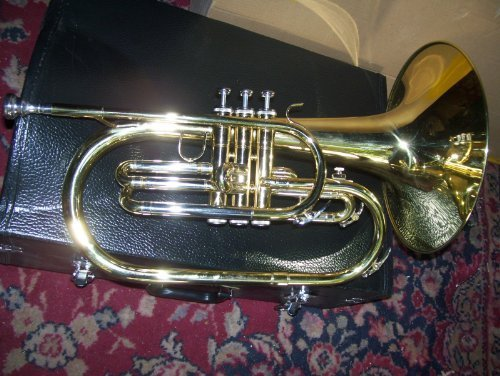 Mellophone with case and mouthpiece