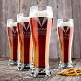 Personalized Groomsmen Pilsner Beer Glasses (Set of 9)