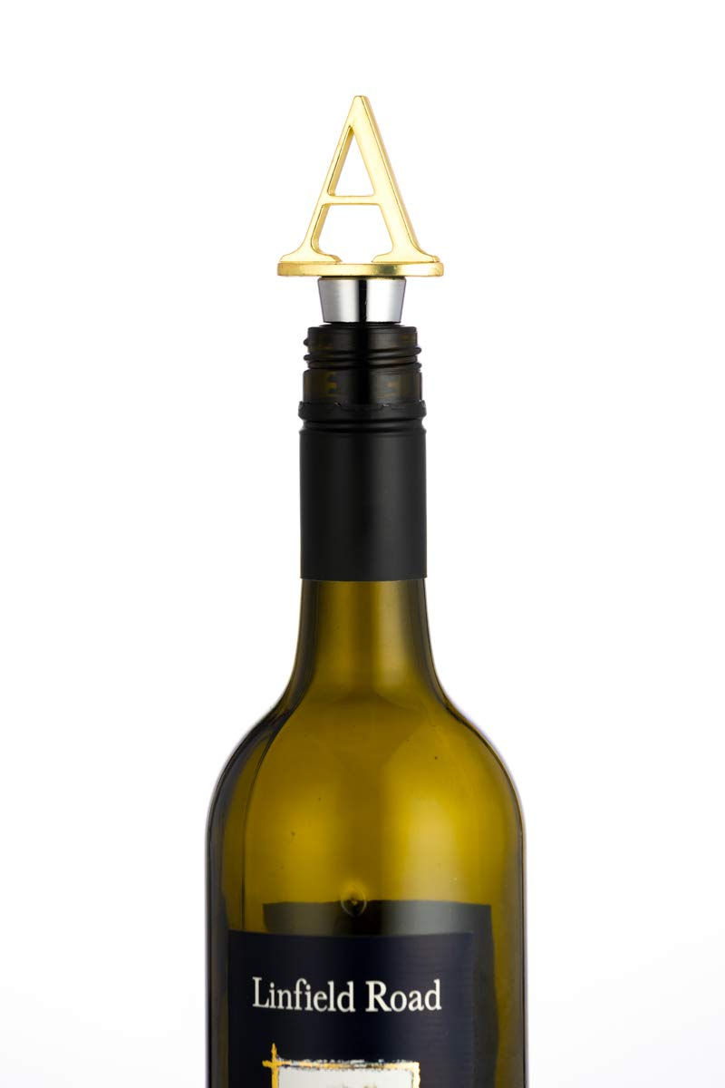 Wine Stoppers,Reusable Wine Preserver,Zinc Alloy and Food Grade Silicone Material,New DIY Letter-shaped Wine Bottle Stopper Funny Gift (Gold Letters A)