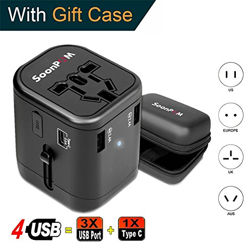 Travel Adapter Universal International Power Adapter Quick USB Charger with 1 Type C and 3 USB Ports All in One Worldwide Power Outlet Converter Wall Plug Adapter for USA/EU/UK/AUS etc. (Black