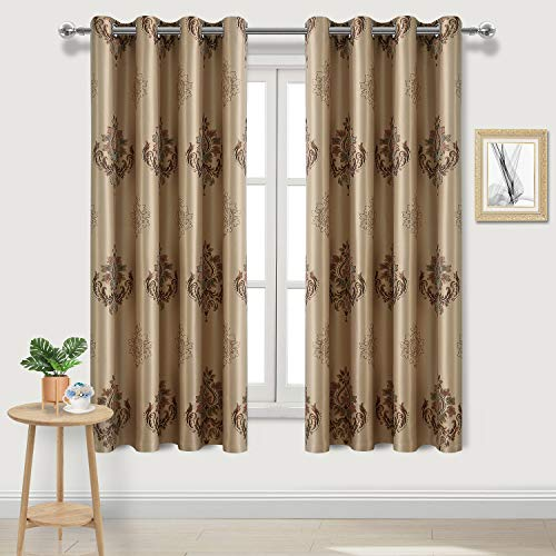 DWCN Floral Damask Jacquard Blackout Curtains - Thermal Insulated Room Darkening Grommet Top Faux Silk Bedroom and Living Room Curtains, Set of 2 Window Curtain Panels, 52 x 63 Inch, Taupe