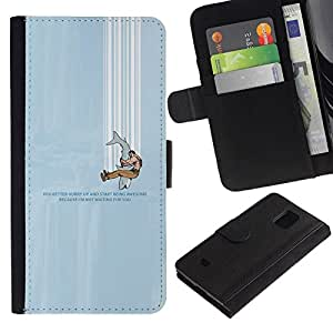 All Phone Most Case / Oferta Especial Cáscara Funda de cuero Monedero Cubierta de proteccion Caso / Wallet Case for Samsung Galaxy S5 Mini, SM-G800 // FUNNY - SHARK HUMOR