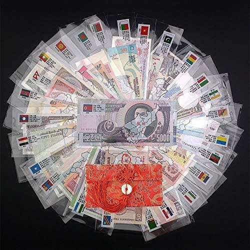 CHENTAOCS 赤いバッグ封筒世界のノートギフト、コレクションで28カ国にUNC実オリジナル紙幣注から52Pcsノート、オリ