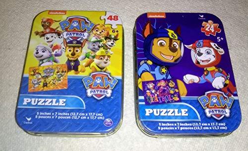 Nickelodeon Paw Patrol Puzzle Tin Tins 2 Bundle Set 24 & 48 Piece