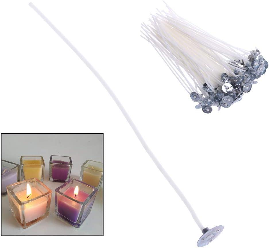 sin humo con n/úcleo de algod/ón 2.6cm blanco hechas a mano 2,6//6//10//12//16 cm 100 unidades Mechas de vela