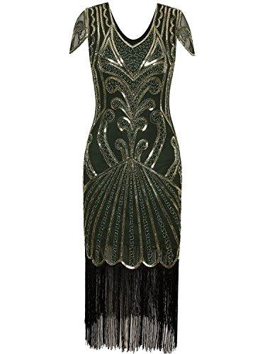 Gatsby Dresses Cheap (Vijiv Long 1920 Vintage Gatsby Beaded Embellished Fringe Cocktail Flapper Dress)