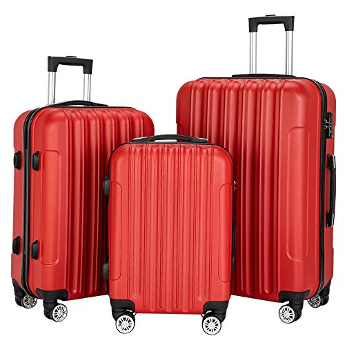 onEveryBaby Luggage Set 20″ 24″ 28″ 3-in-1 Multifunctional Large Capacity Traveling Storage Suitcase Expandable Suitcase Luggage Red