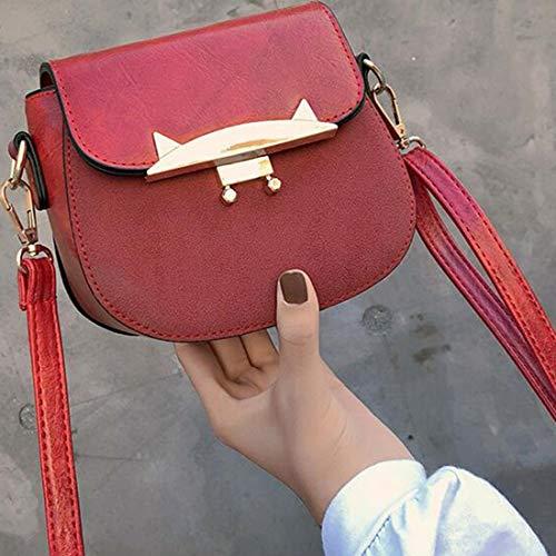 color Espalda Hombro De Bolsos Pu Klerokoh Red Bolso Bandolera Mujeres Diagonales Black Las Cuero PzvRwxCv