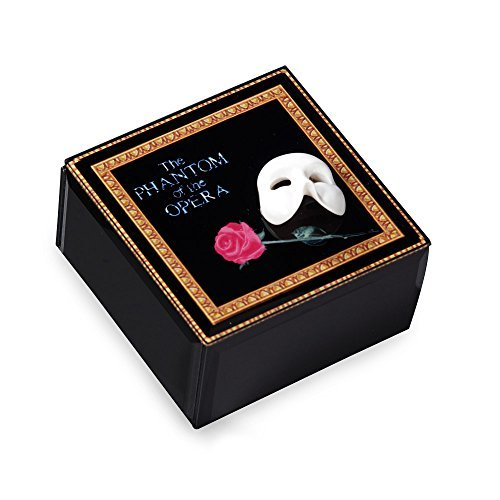 (The San Francisco Music Box Company Phantom of The Opera Mask and Rose Glass Music Box)