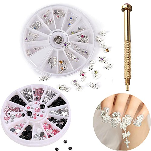AiQueen 1 Set Dangle Nail Charm Art Piercing Tool Hand Drill Beaded Rings Nail Piercing Tool Rhinestone Nail Art Tips Gems ()