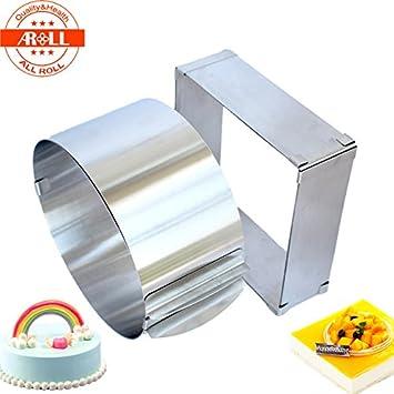 2pcs/set redondo y cuadrado ajustable para tarta Mousse anillo de acero inoxidable molde de repostería para molde moldes para repostería herramientas: ...