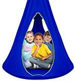 Sorbus Kids Nest Swing Chair Nook - Hanging Seat Hammock for Indoor Outdoor Use - Great for Children, All Accessories Included (40 Inch, Nest Blue)