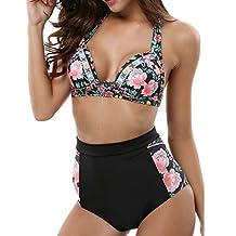 LANFEI Women's Halter Swimsuit Bikini Floral Print High Waisted Bathing Suits