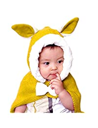 ABC® Children Hats, Children Winter Knit Wool Rabbit Hats Baby Girls Shawls Hooded Cowl Beanie Caps (Yellow)