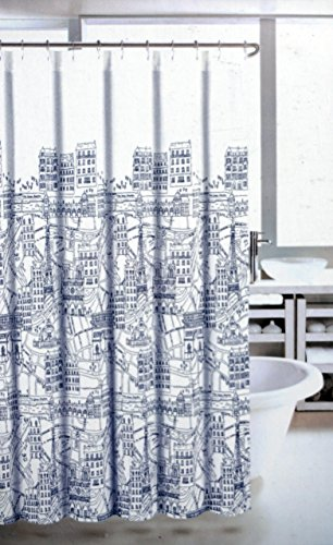 Nicole Miller La Tour Eiffel Fabric Shower Curtain, Paris City Scene, Blue and White - Nicole Miller Shower Curtain