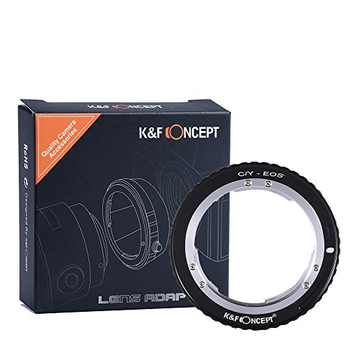 K&F Concept Lens Mount Adapter Contax Yashica C/Y Lens to Canon EOS EF Adapter, for Canon EOS 1D, 1DS, Mark II, III, IV, 5D, Mark II, 7D, 30D, 40D, 50D, 60D, 70D, Digital Rebel T2i, T3, T3i, T4i ()