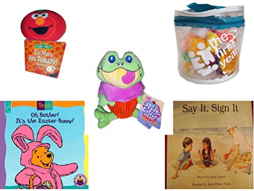 Children's Gift Bundle - Ages 0-2 [5 Piece] - Giggling Elmo Hot Tomato Game - The First Years 21 Piece Set In Reusable Tote - Cupcake Cuties Sugar Loaf Plush Stuffed Baking Pastry Funny Frog Doll 10 - Elmo Baking Cups