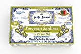 SANTO AMARO European Wild Sardines in Pure Olive Oil (12 Pack, 120g Each) Lightly Smoked - Europe Style! 100% Natural - Wild Caught - GMO FREE - Hand Packed in PORTUGAL