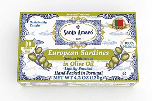 (SANTO AMARO European Wild Sardines in Pure Olive Oil (12 Pack, 120g Each) Lightly Smoked - Europe Style! 100% Natural - Wild Caught - GMO FREE - Keto - Paleo - Hand Packed in PORTUGAL)