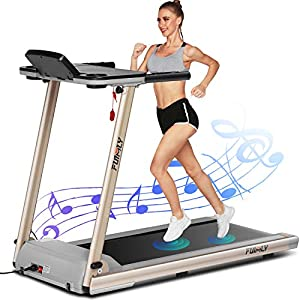 FUNMILY Treadmill,Treadmills for Home,Folding Electric Treadmill,Walking/Running Desk Portable Treadmill Machine for Exercises with Table & Bluetooth Speaker & Large LCD Monitor.