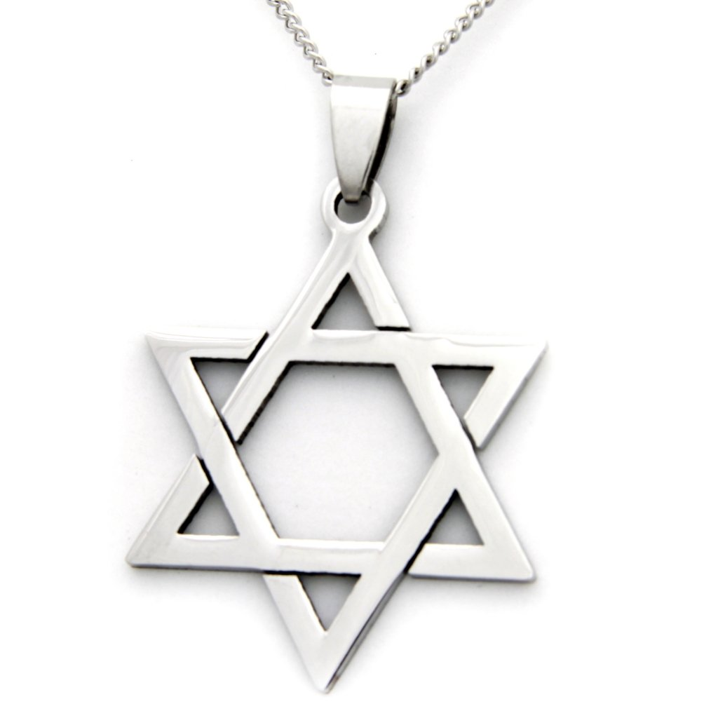Stainless Steel Religious Necklace Rush Industries Jewish Star of David Pendant Necklace Kabbalah Jewelry