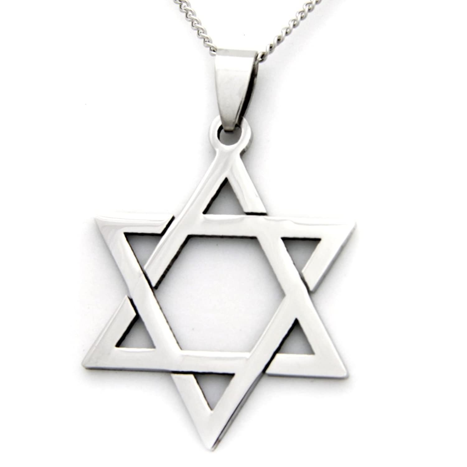 stainless men tone pendant silver of necklace jewelry steel mens magen star s david best