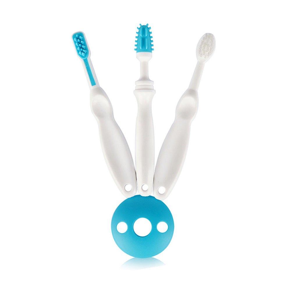 3Stage Baby Growing Toothbrush & Gums Massger Oral Care Set for Toddler Infant Kids,Soft Bristles & Non-Slip Hand Grip & Manual (Blue)