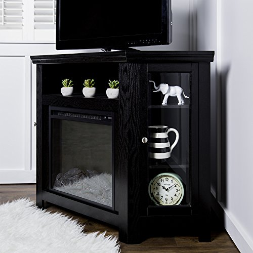 New 4 Foot Wide Fireplace TV Stand-Corner Unit-Black Finish by Home Accent Furnishings