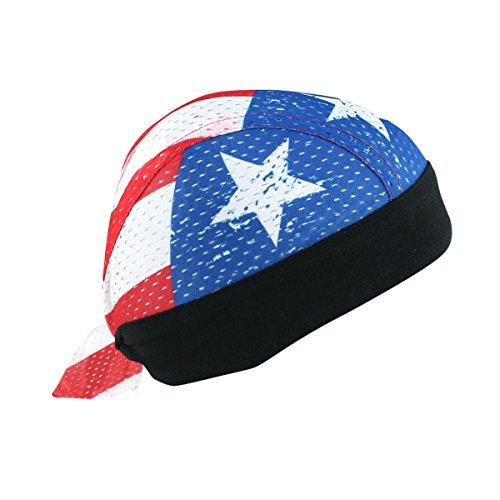 (Premium USA American Flag Vented Head Wrap Biker Hat Durag Skull Cap Stretchy Sweatband)
