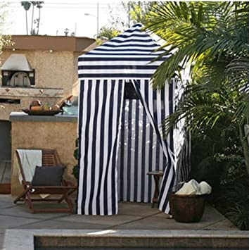 Striped Portable Changing Cabana Tent Patio Beach Pool Navy White & Striped Portable Changing Cabana Tent Patio Beach Pool Navy White ...
