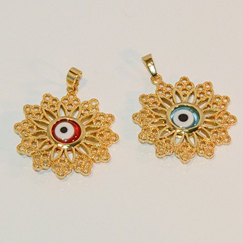 1-2289-e7 Evil Eye Filigree Pendant. 32mm, 2 colors available. ()