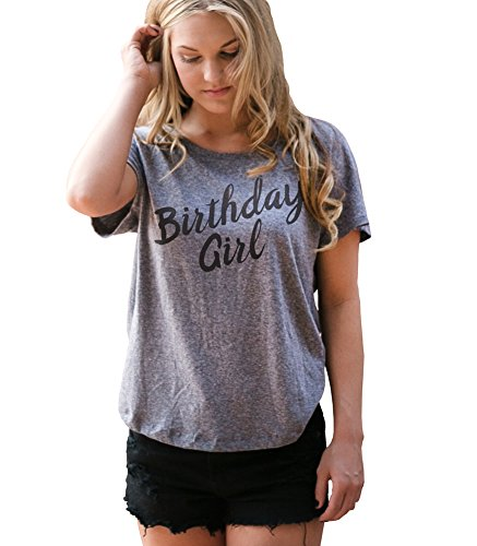 Superluxe Clothing Womens Birthday Girl Flowy Tri-Blend Dolman T-Shirt, Premium Heather Grey, Large