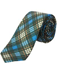 Mens Green Plaid Wool Tie, Os, Green