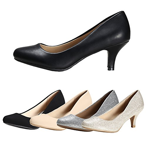 Bridal Shoes wear Classic for Low Black Wedding Nubuck Pu Work Casual Women's Day Faux Pump STELLE Party Heel gvAORY5qxw